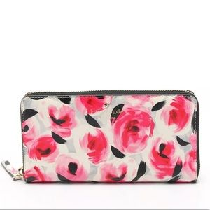 kate spade zipper Long wallet floral pattern